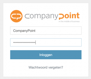 Inlogscherm klantenportaal CompanyPoint, microsoft 365 business specialist